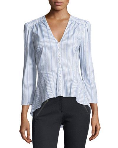 Veronica Beard Pismo Striped Peplum Shirt In White/blue