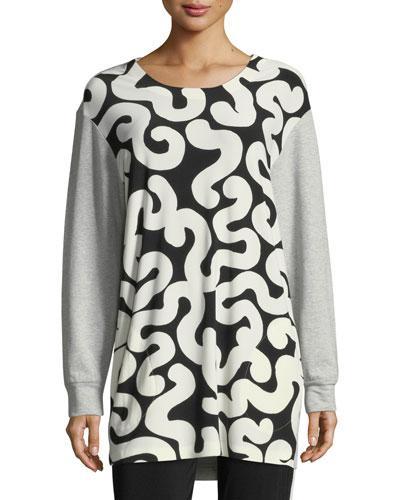Norma Kamali Boyfriend Sweatshirt Combo Top In Gray Pattern