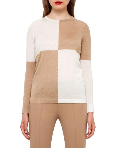 Akris Colorblock Crewneck Sweater, Camel/moonstone In Camel-moonstone