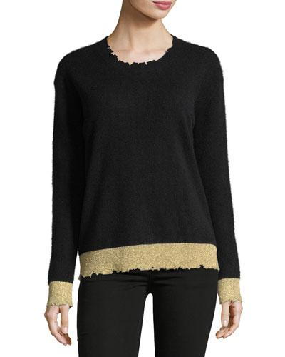 Rta Charlotte Two-tone Cashmere Sweater In Black/gold