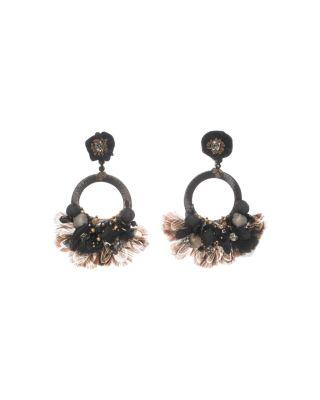 Ranjana Khan Fringe Drop Earrings In Black/pink