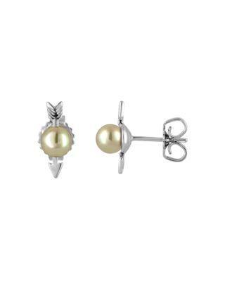 Majorica Arrow Stud Earrings In White