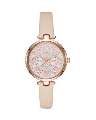 Kate Spade Holland Heart Vachetta Leather Watch In Pink