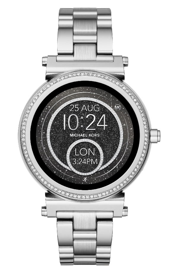Michael Kors Sofie Stainless Steel Touchscreen Smartwatch, 42mm In Silver/ Black/ Silver