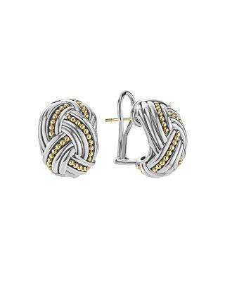 Lagos 18k Gold & Sterling Silver Torsade Huggie Hoop Earrings In Silver/ Gold