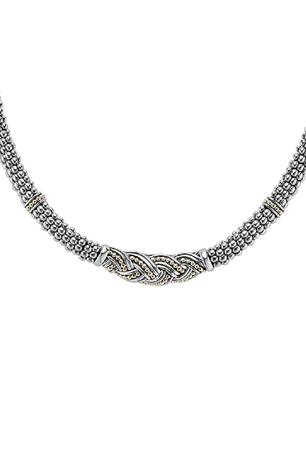 Lagos 18k Gold & Sterling Silver Torsade Rope Station Necklace, 16 In Silver/ Gold