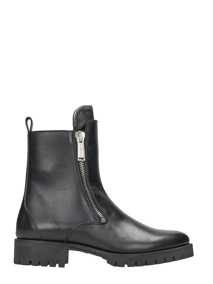 Dsquared2 Zip Up Black Leather Ankle Boots