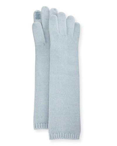 Portolano Long Cashmere Tech Gloves In Light Blue