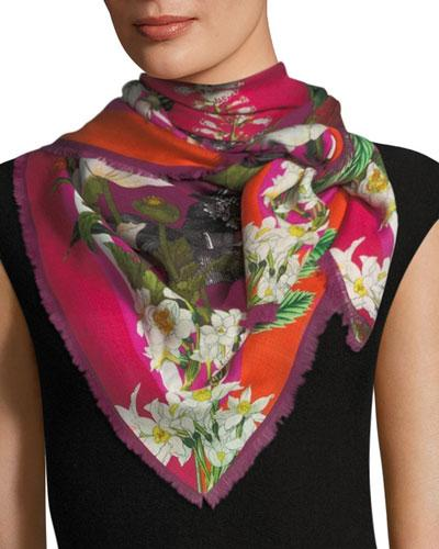 St. Piece Geraldine Wool Floral Print Scarf In Pink/purple