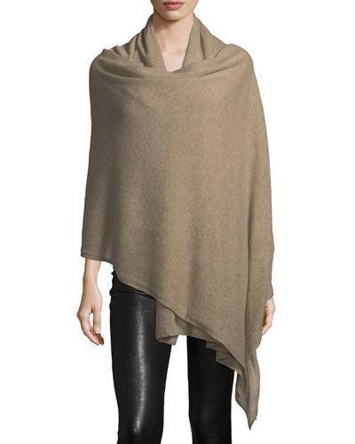 Portolano Cashmere Shawl/travel Blanket In Brown Pattern