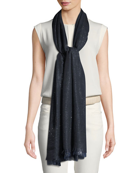Loro Piana Duo Crystal Metallic Stole In Navy