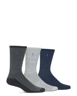 Polo Ralph Lauren Birdseye Crew Socks In Charcoal Heather Gray