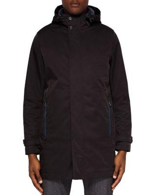 Ted Baker Stack Hooded Mac Jacket In Black