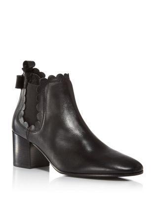 Kate Spade New York Garden Scalloped Chelsea Booties In Black