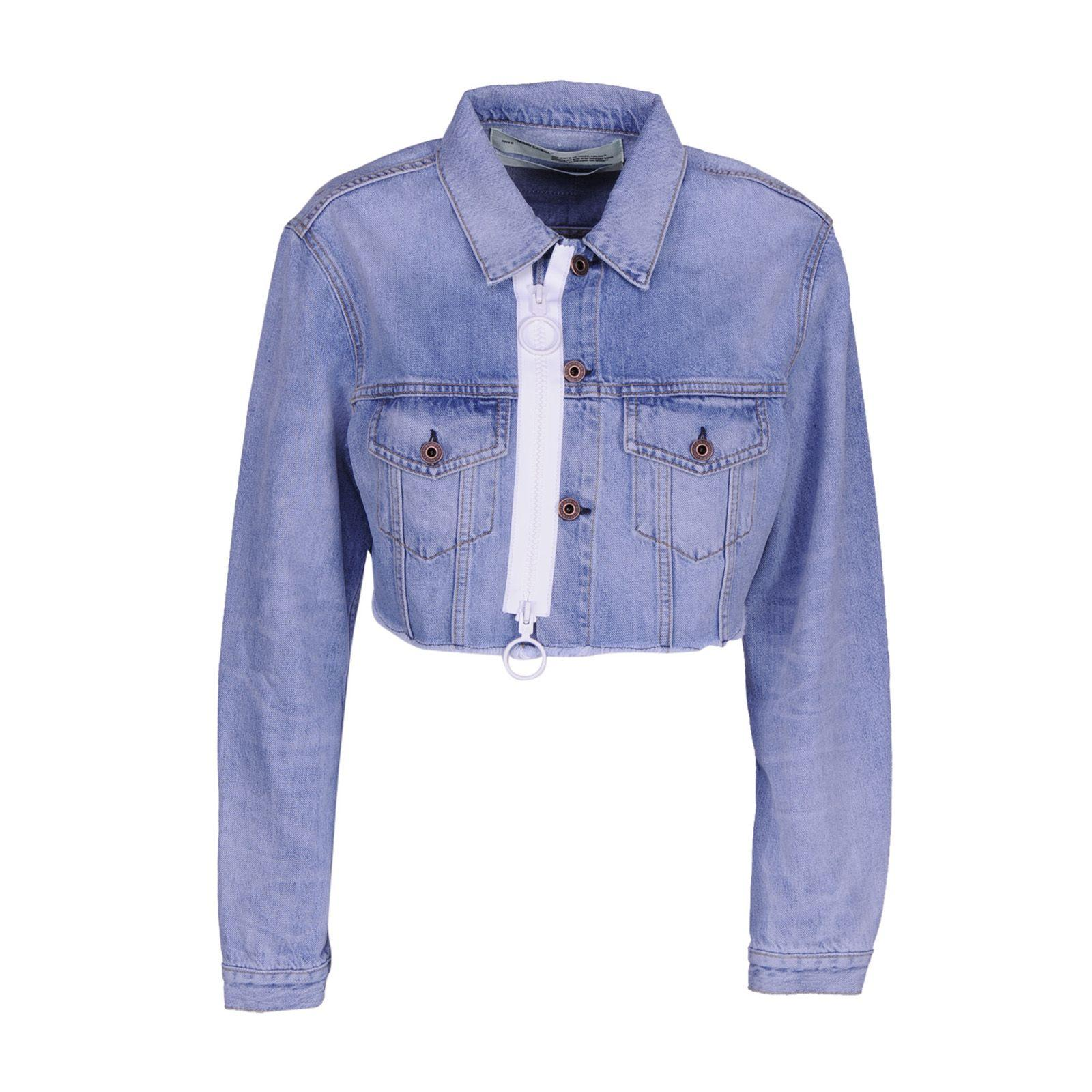 Off-white Cropped Zip Denim Jacket In Light Blue