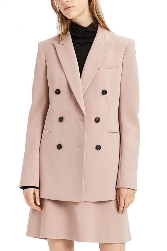 Theory Double Woolen Jacket In Pink