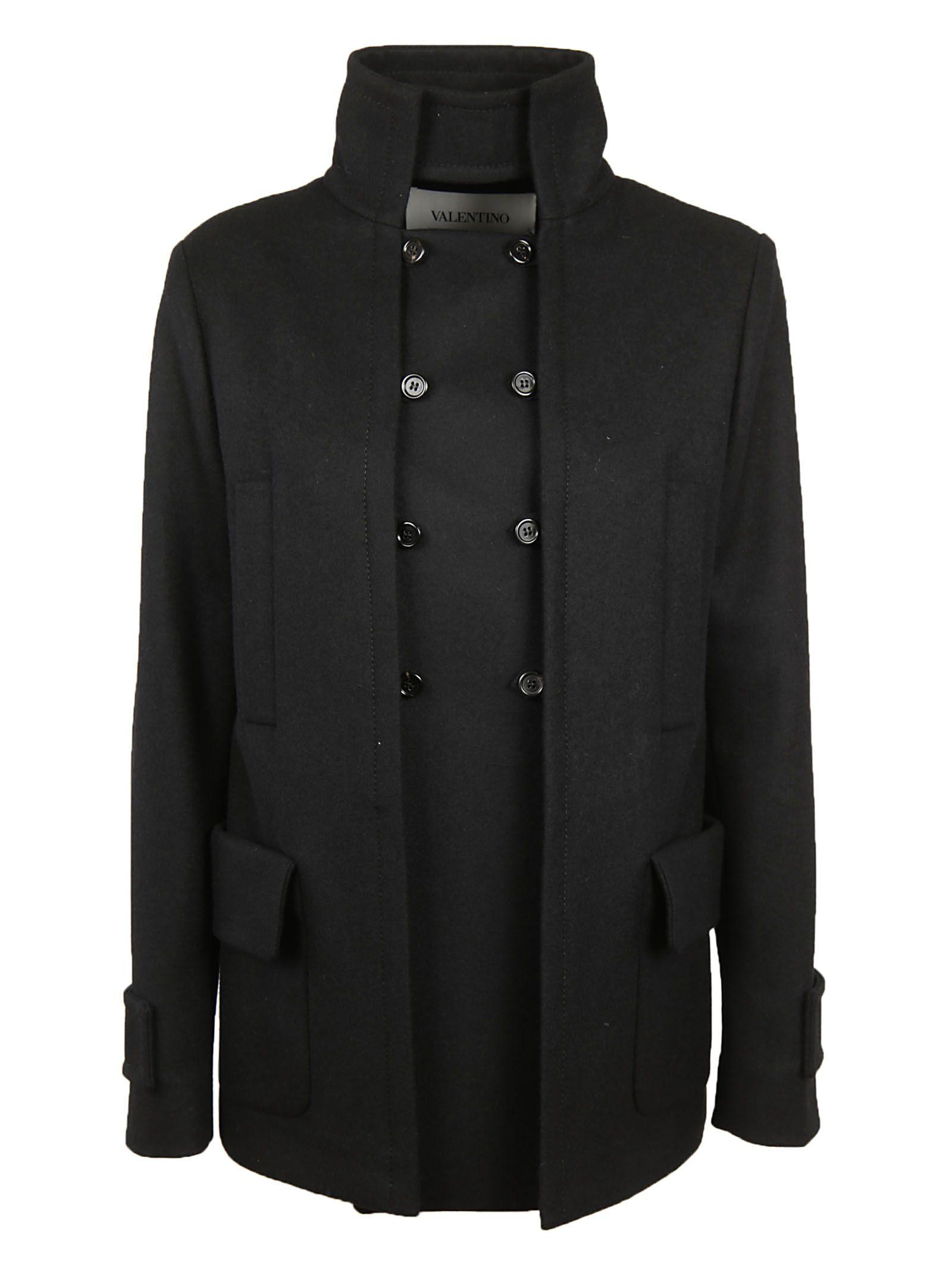 Valentino Button-up Jacket In Black