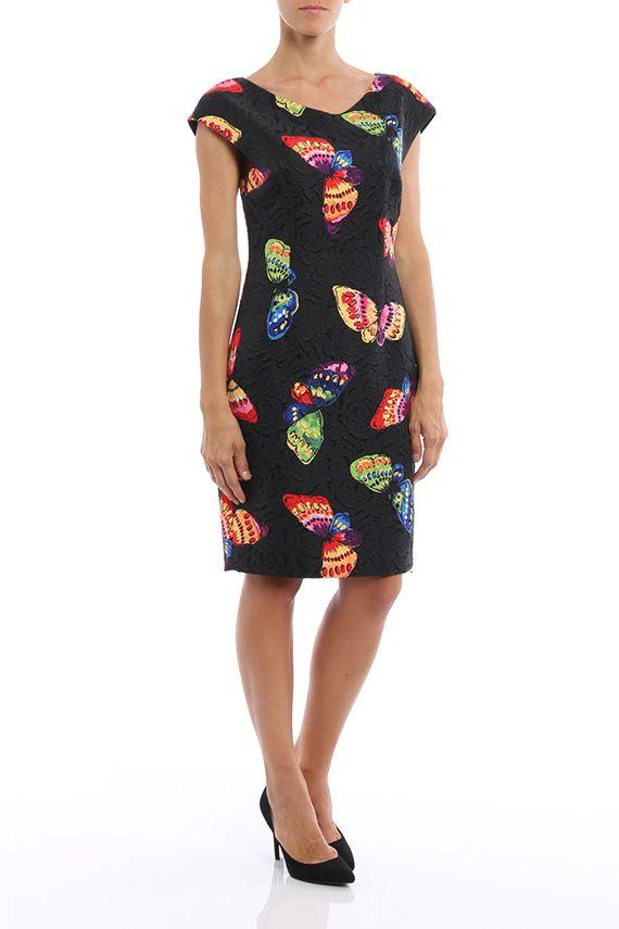 Boutique Moschino Brocade Print Butterfly Dress In Black