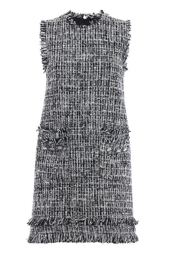 Msgm Tweed Bouclé Sleeveless Dress In Black
