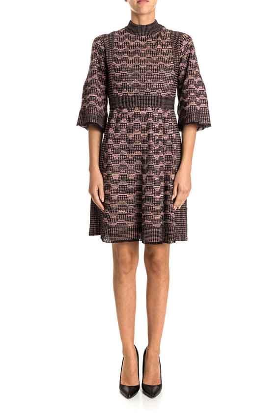 M Missoni Knitted Dress In Black