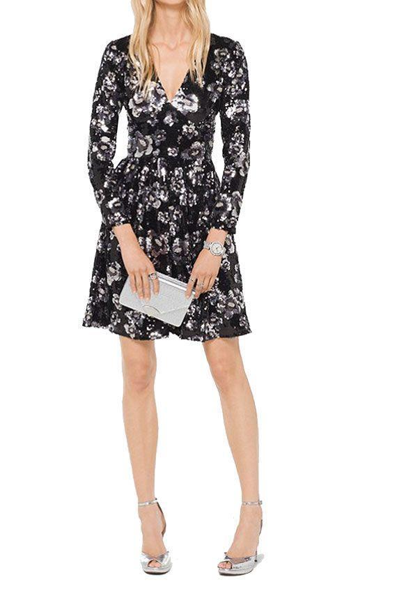 Michael Michael Kors Sequins Embellished Dress - Black