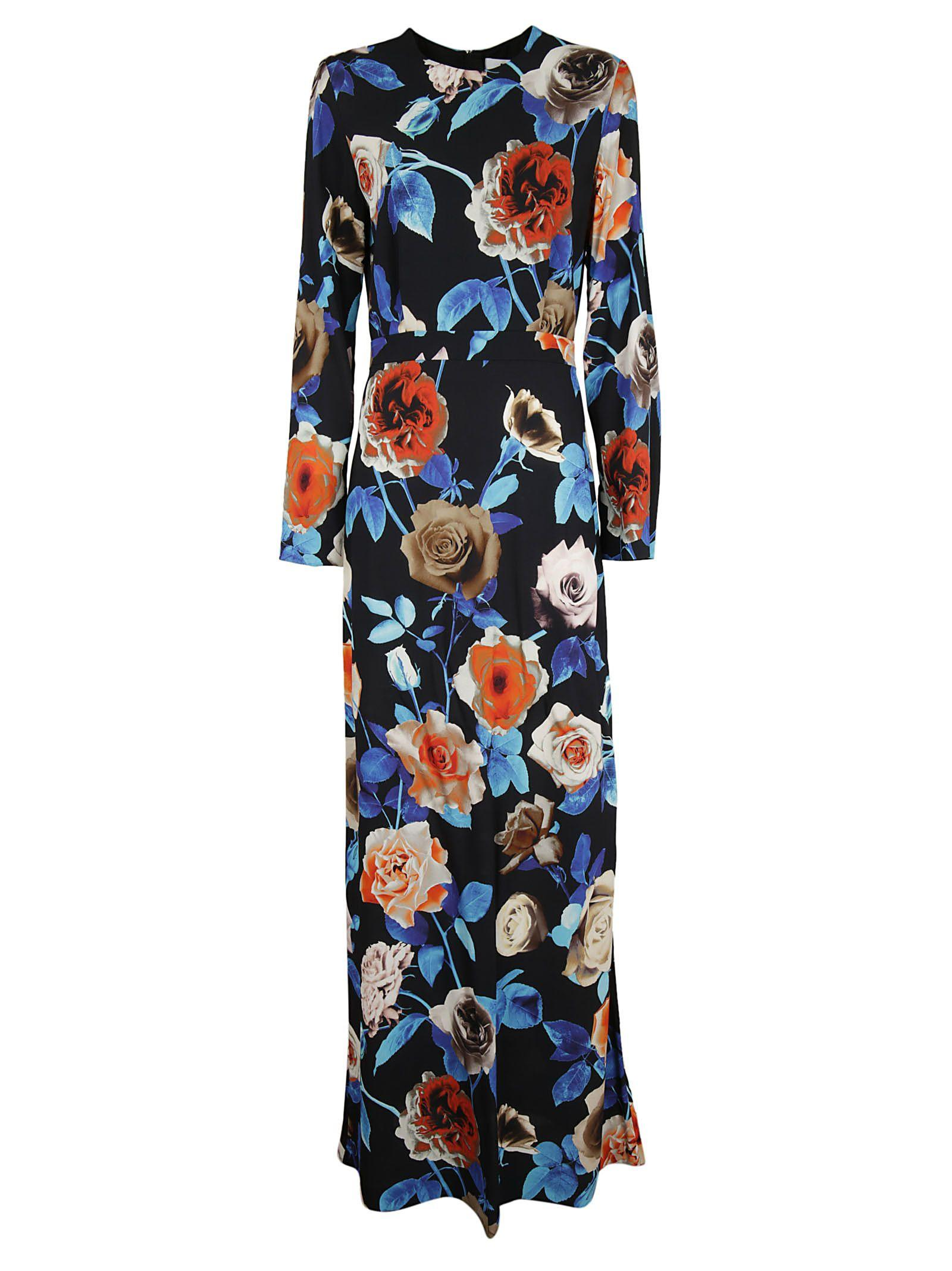 Msgm Floral Print Dress In Black