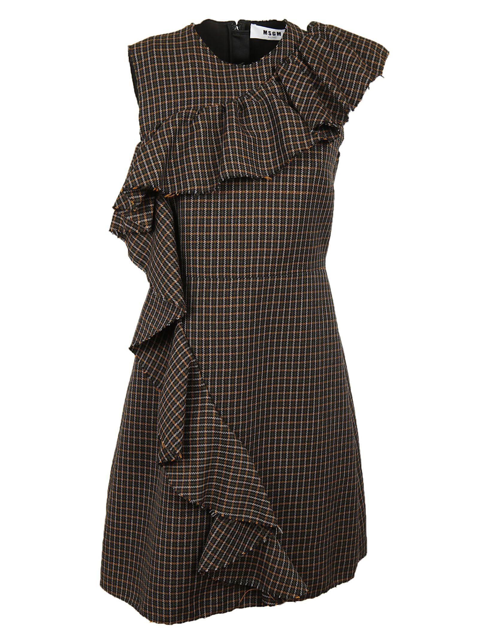 Msgm Frill Fitted Dress In Brown