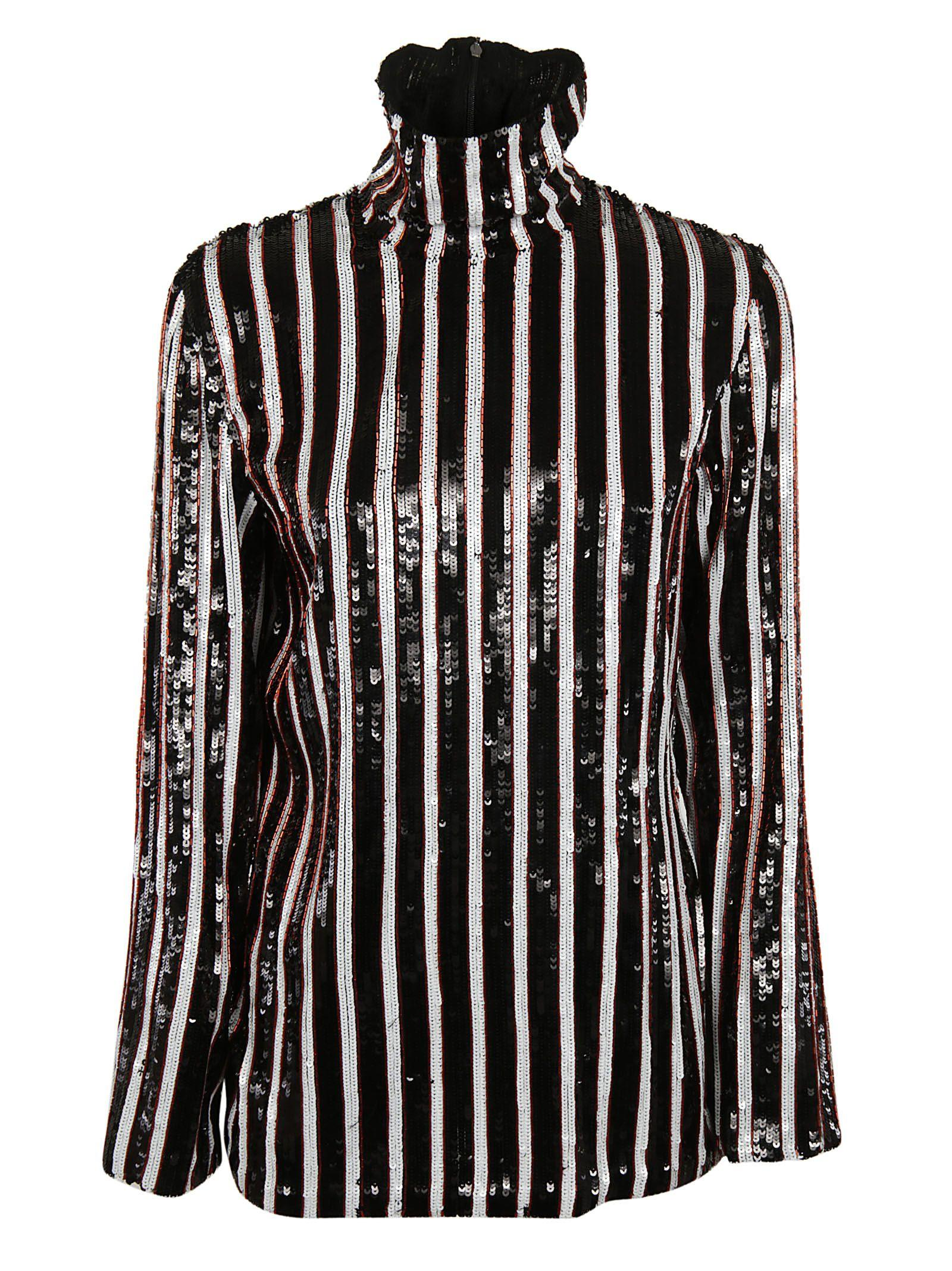 Msgm Stripe Top In Black