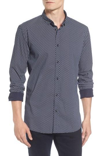 Scotch & Soda Classic Fit Print Shirt In Blue