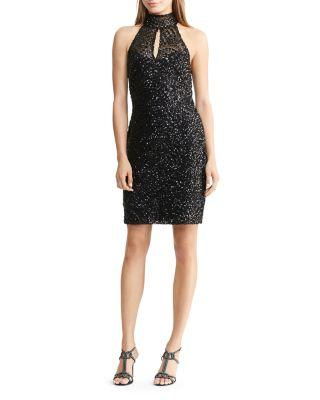 Ralph Lauren Lauren  Sequin Mock-neck Dress In Black