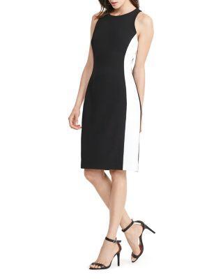 Ralph Lauren Lauren  Petites Side-stripe Sheath Dress In Black/white