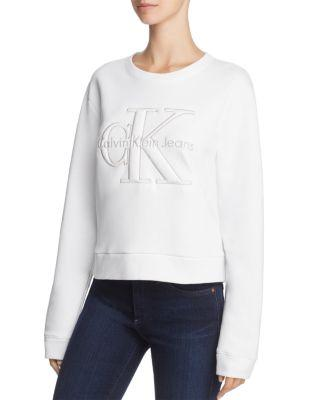 Calvin Klein Harper Logo Cropped Sweatshirt In Bright White