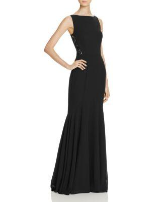 Jarlo Lace Detail Gown In Black