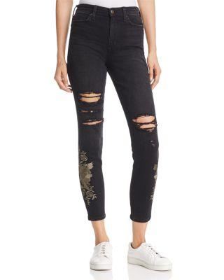 Joe's Jeans The Charlie Ankle Ripped Embroidered Skinny Jeans In Sookie