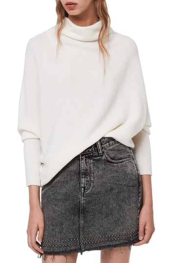 Allsaints Ridley Funnel Neck Wool & Cashmere Sweater In Chalk White