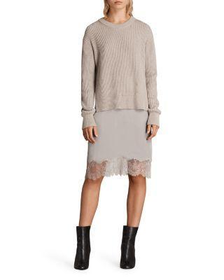 Allsaints Eloise 2-in-1 Long-sleeve Dress In Oatmeal Brown