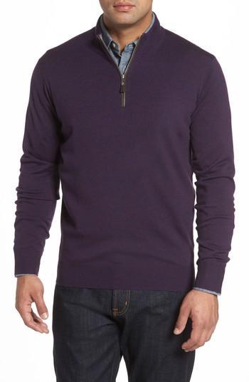 Peter Millar Merino Wool & Silk Quarter Zip Pullover In Blackberry