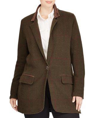 Ralph Lauren Lauren  Plus Plaid Knit Blazer In Deep Forest Multi