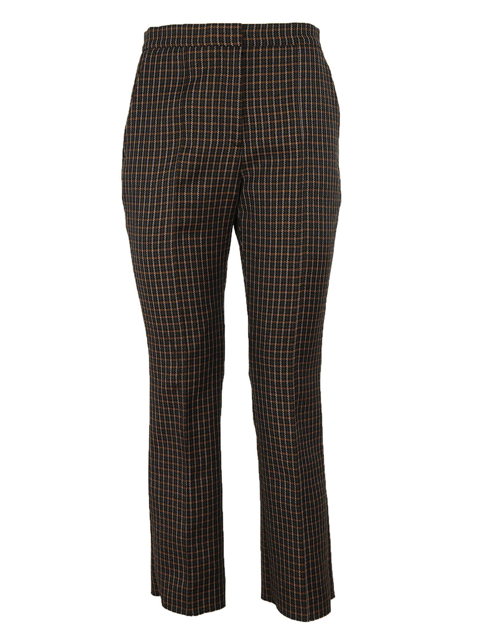Msgm Tartan Trousers In Brown