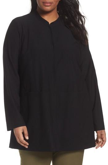 Eileen Fisher Mandarin Collar Knit Jacket In Black