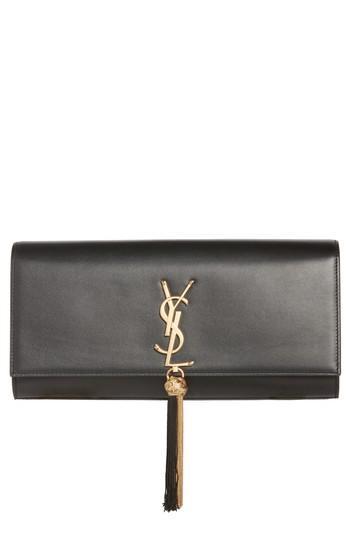 Saint Laurent Kate Calfskin Leather Clutch - Black In Nero