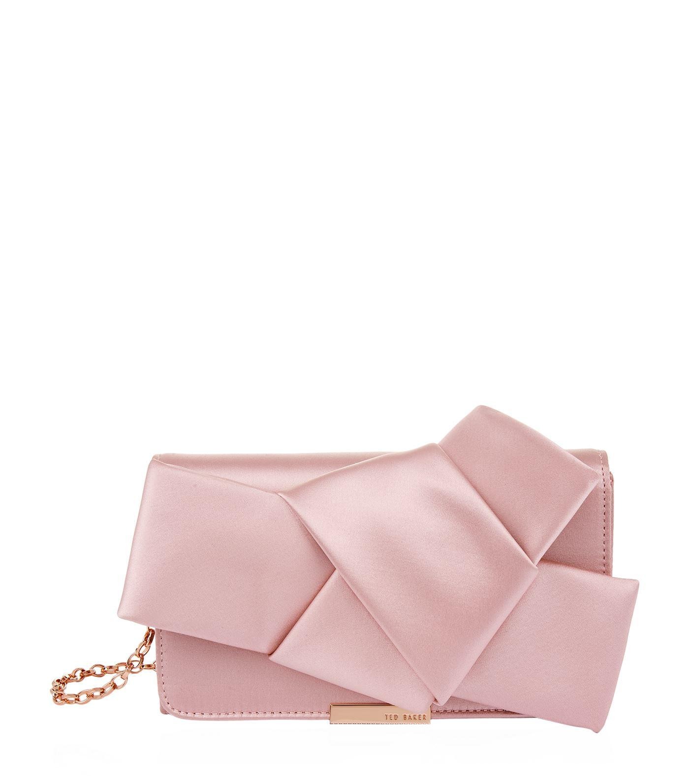 Ted Baker Fefee Satin Knotted Bow Clutch - Pink In Light Pink