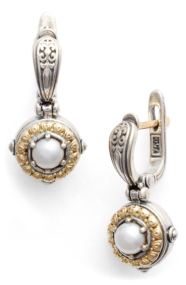 Konstantino Silver/Gold Pearl Drop Earrings In Silver/ Gold/ Pearl