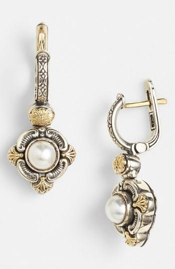 Konstantino 'hermione' Pearl Drop Earrings In Silver/ Gold