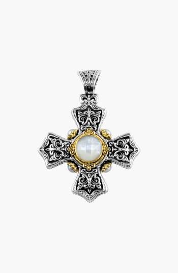 Konstantino 'selene' Maltese Cross Pendant In Silver/ Gold