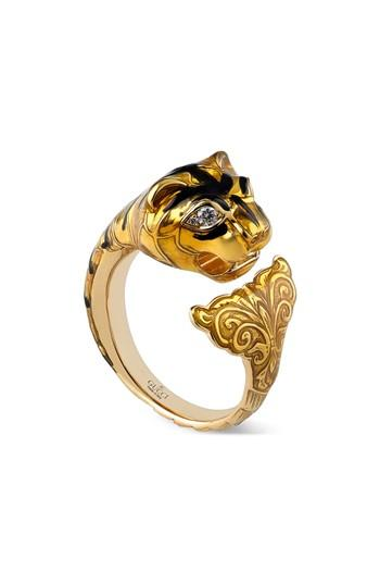 Gucci Feline Head Ring With Yellow Enamel & Diamonds In Yellow Gold/ Violet