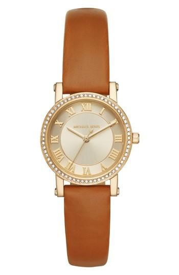 Michael Kors Petite Norie Pave Leather Strap Watch, 28mm In Brown/ Gold