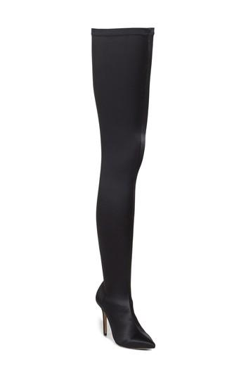 Tony Bianco Dene Thigh High Boot In Black Satin