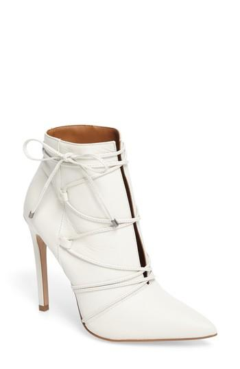Steve Madden Anika Pointy Toe Boot In White Leather