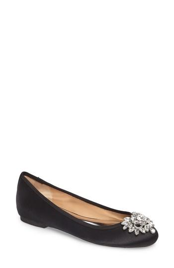 Badgley Mischka Bianca Embellished Ballet Flat In Black Satin
